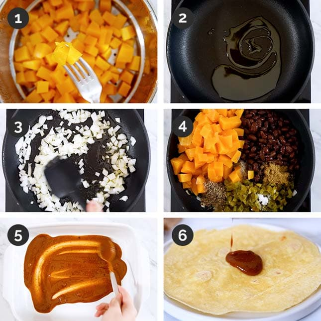 Photo of the first 6 steps of how to make vegan enchiladas