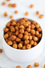 Photo of a bowl of roasted chickpeas
