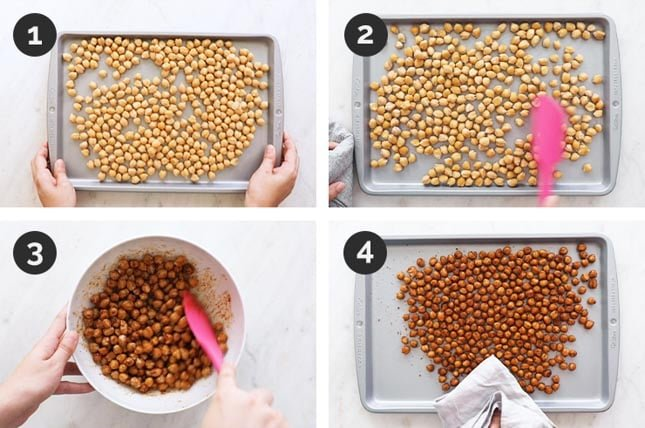 Step by step photos of how to make roasted chickpeas at home