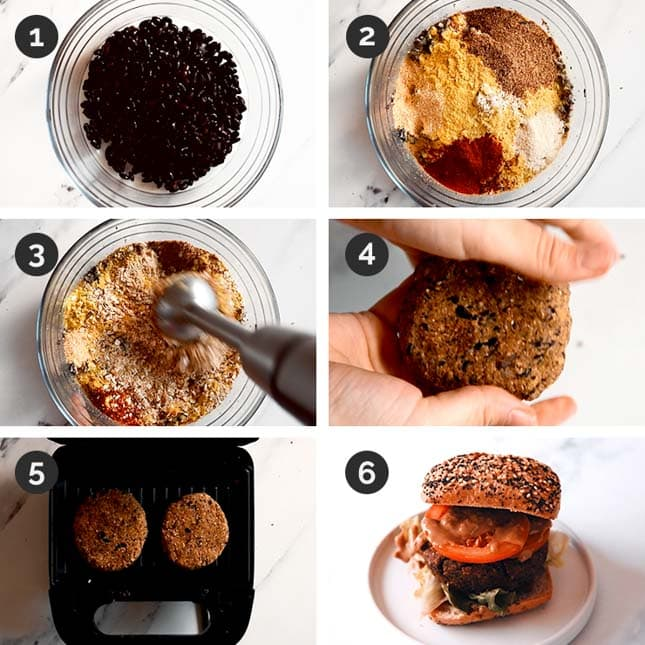 Step-by-step photos of how to make black bean burgers