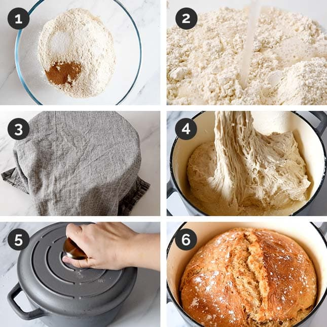 Step-by-step photos of how to make vegan bread