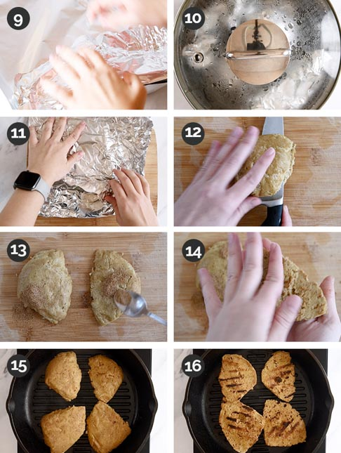 Photo of the last steps of how to make vegan chicken