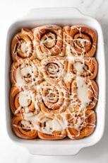 Photo of a plate of homemade vegan cinnamon rolls