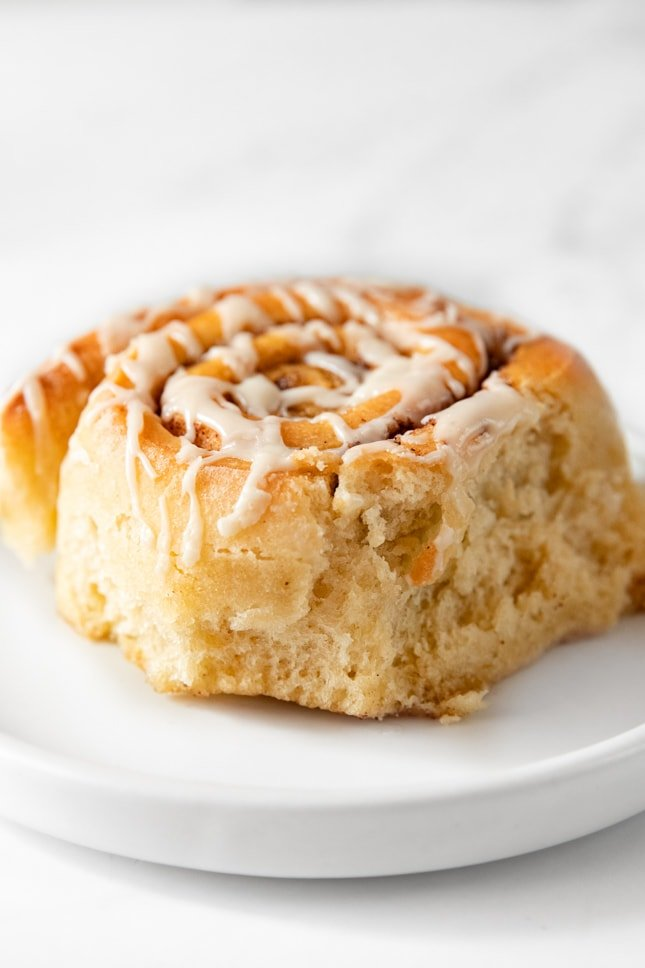 Photo of a vegan cinnamon roll on a plate