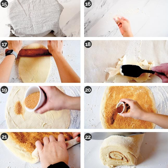 Step-by-step photos of the middle steps of how to make vegan cinnamon rolls