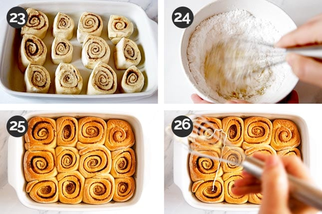 Step-by-step photos of the last steps of how to make vegan cinnamon rolls