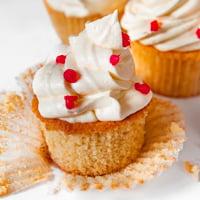 Square photo of some vegan vanilla cupcakes