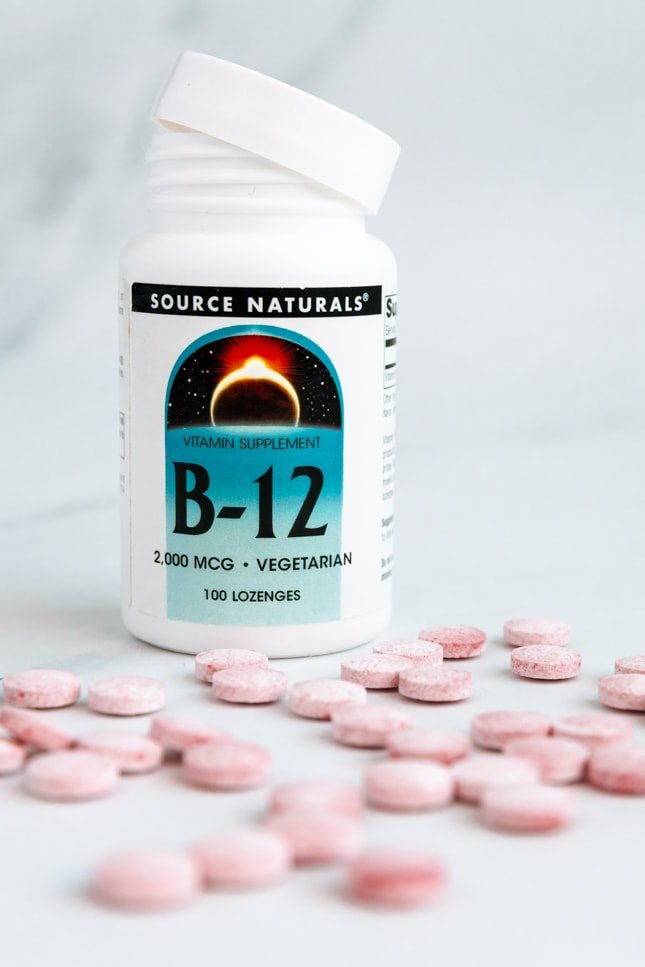 Photo of a jar of vitamin B12