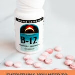 Photo of a jar of vitamin B12 pills with the words everything you need to know about vitamin B12