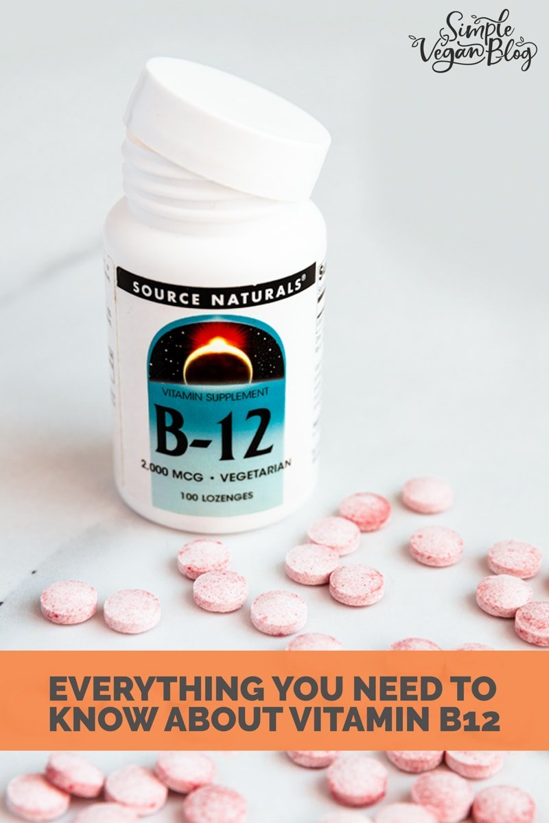 Photo of a jar of vitamin B12 with the words everything you need to know about vitamin B12