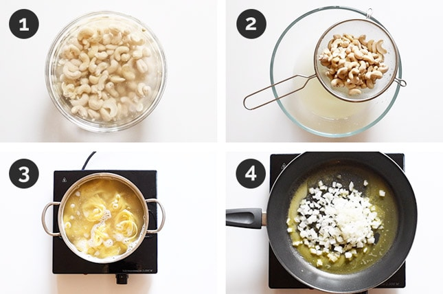 Step by step photos of how to make vegan Alfredo sauce from scratch
