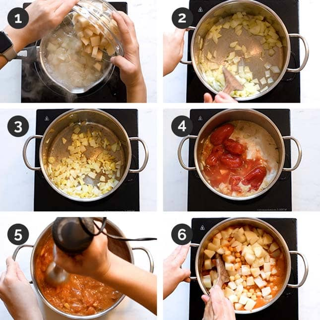 Step by step photos of how to make vegan curry from scratch