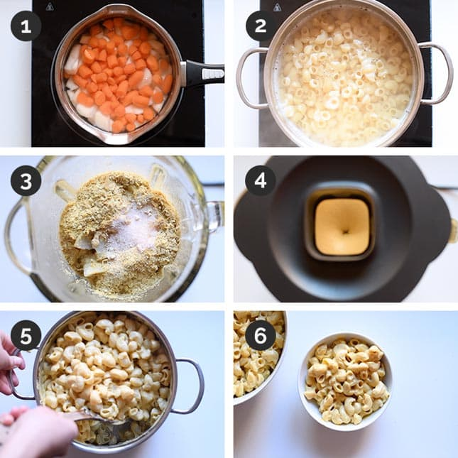 Step by step photos of how to make vegan mac and cheese