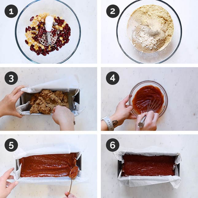 Step by step photos of how to make vegan meatloaf