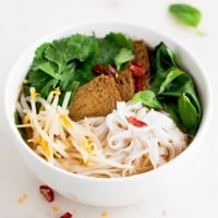 A square picture of a bowl with vegan pho made from scratch