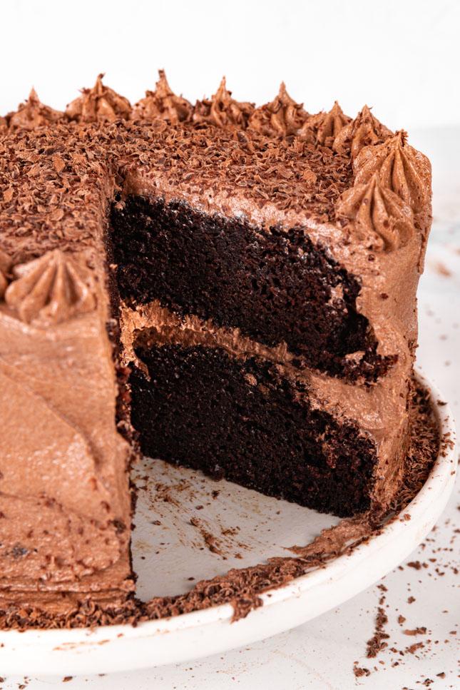 Photo of a vegan chocolate cake