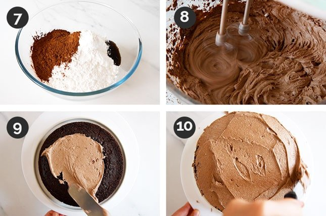 Photo of the last steps of how to make a vegan chocolate cake