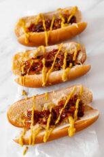 Photo of 3 homemade vegan hot dogs