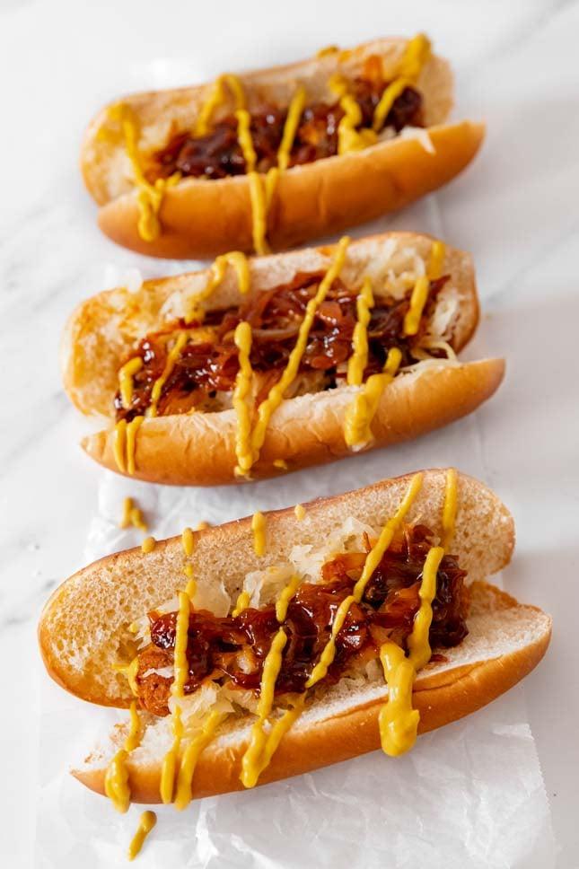 Photo of 3 vegan hot dogs