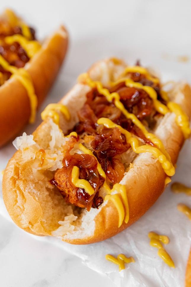 Close-up photo of a vegan hot dog