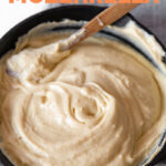Photo of a bowl of vegan mozzarella with the words vegan mozzarella