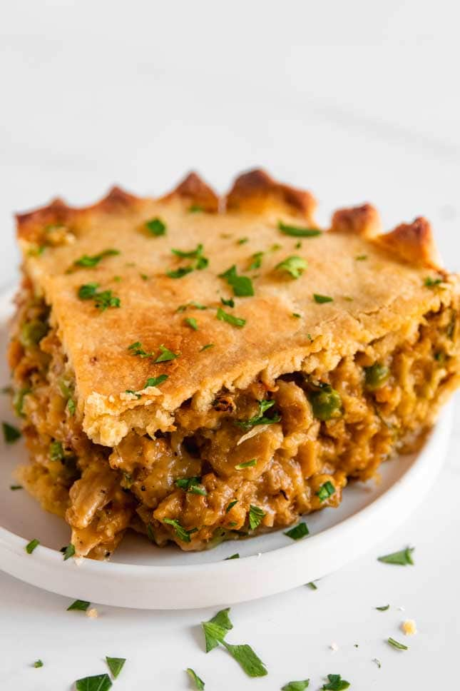 Photo of a slice of vegan pot pie