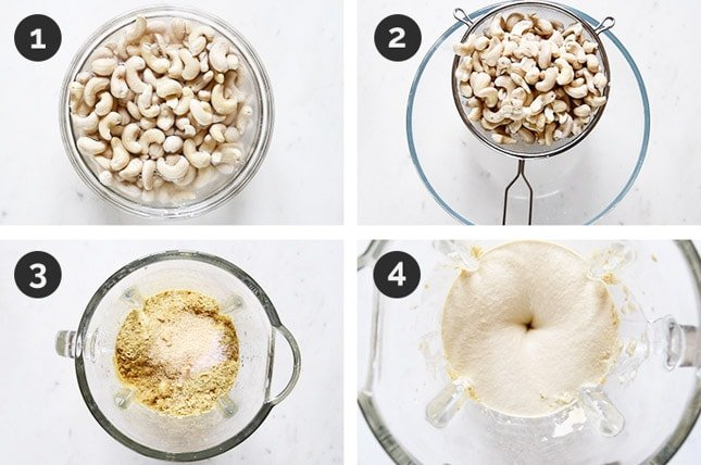 Step by step photos of how to make cashew cheese from scratch