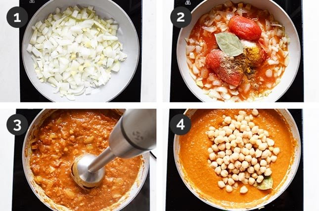 Step by step photos of how to make chana masala from scratch