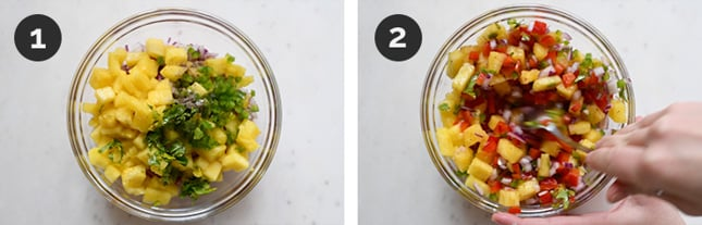 Step by step photos of how to make pineapple salsa from scratch