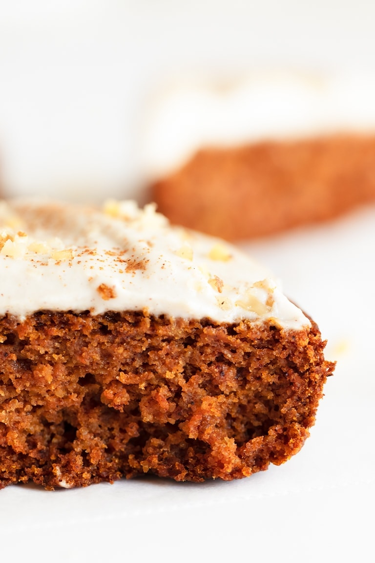 Photo of a slice of vegan pumpkin cake