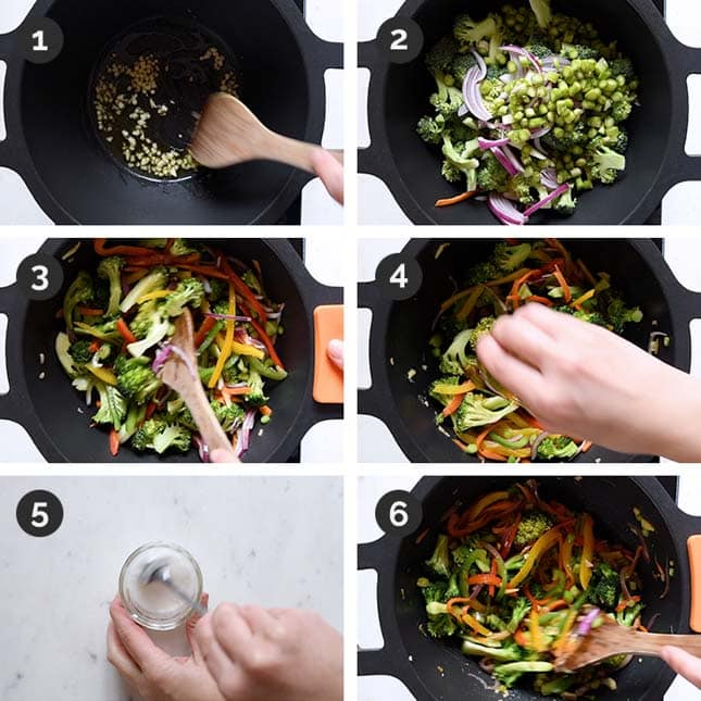 Step by step photos of how to make veggie stir fry from scratch