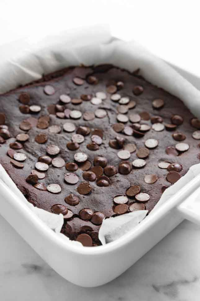 Photo of a baking dish with black bean brownies