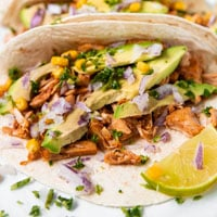 Square photo of some jackfruit tacos