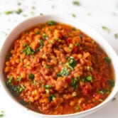 Photo of a bowl of homemade lentil soup