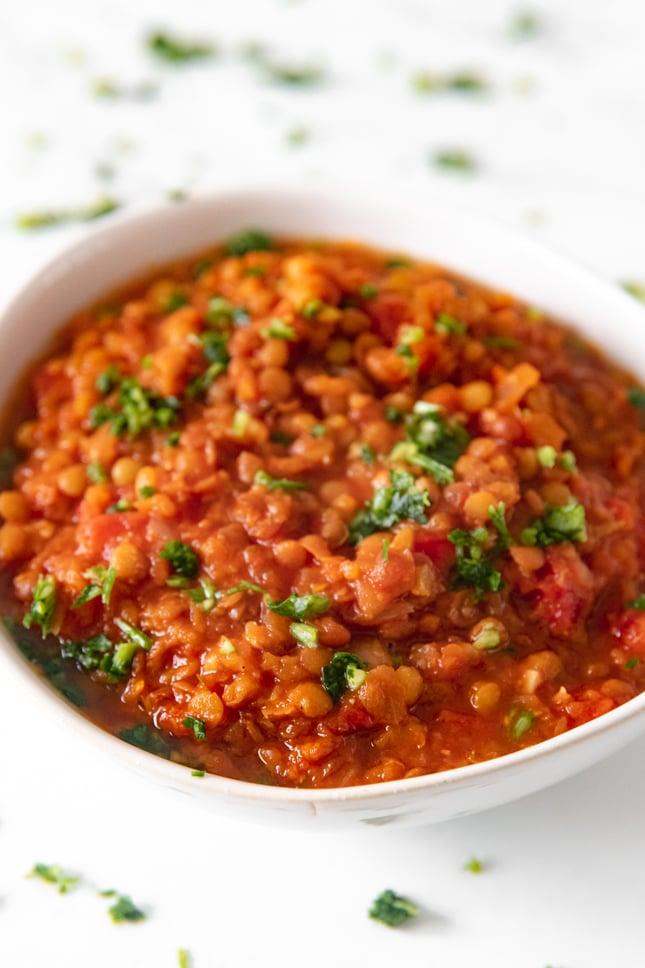 Close-up photo of a bowl of lentil soup