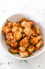 Photo of a bowl of homemade marinated tofu