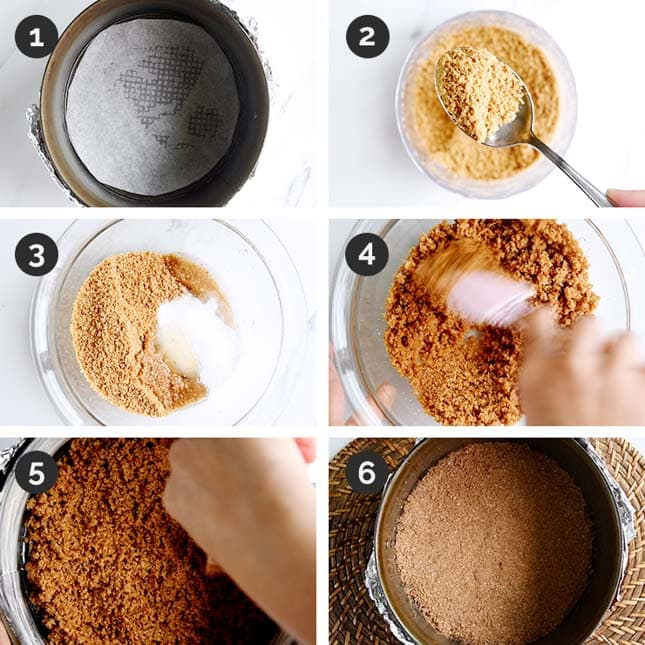 Step-by-step photos of how to make the crust of a vegan cheesecake