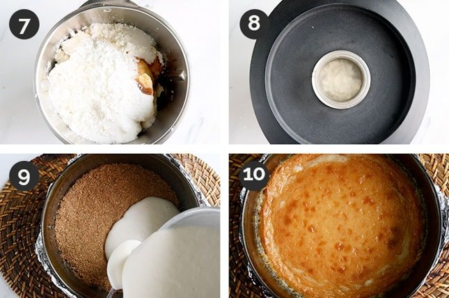 Step-by-step photos of how to make the filling of a vegan cheesecake