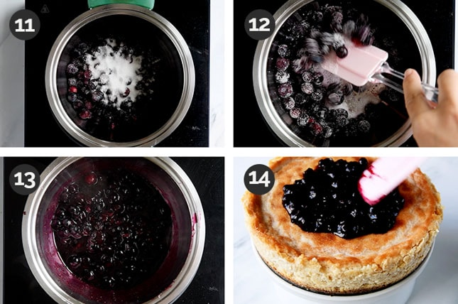 Step-by-step photos of how to make the topping of a vegan cheesecake