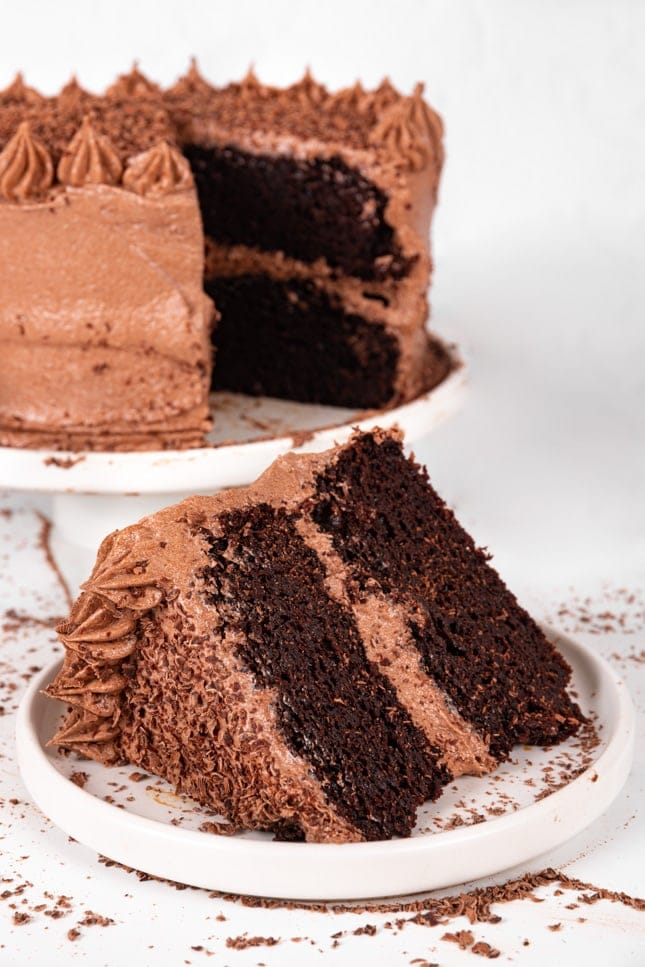 Photo of a slice of a vegan chocolate cake