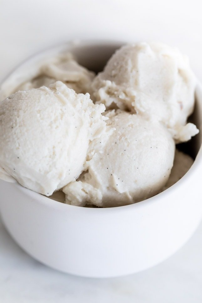 Photo of a bowl of vegan ice cream