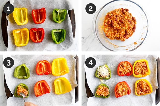Step-by-step photos of how to make vegan stuffed peppers