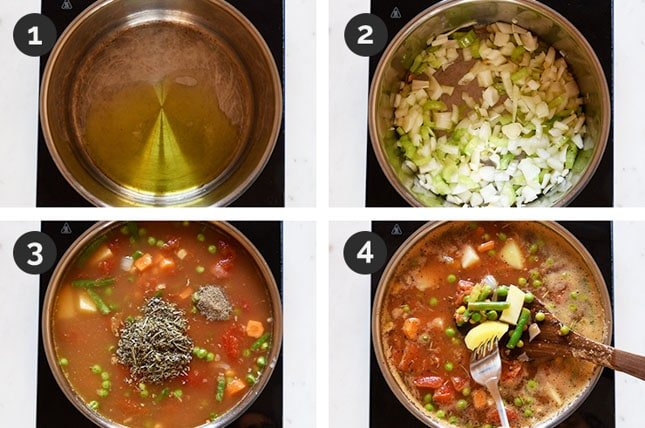 4 step-by-step shots of how to make vegetable soup