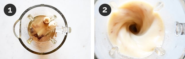 Step by step photos of how to make banana milk