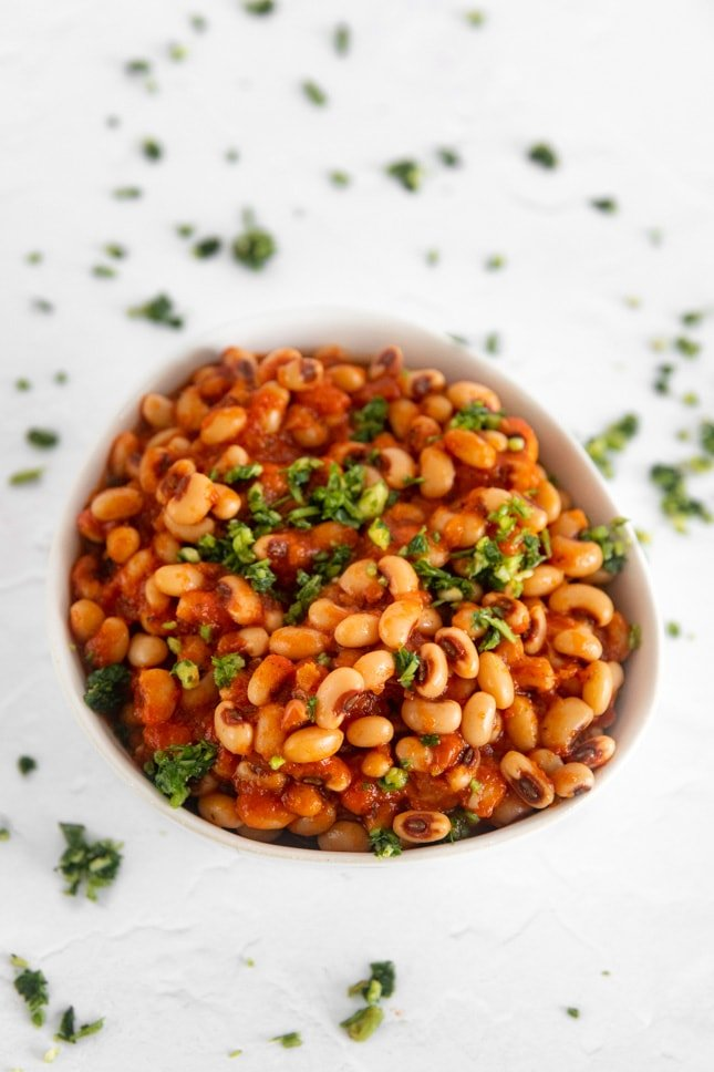 Photo of a bowl with a black eyed peas recipe