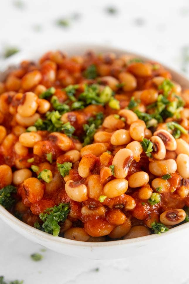 Close-up photo of a bowl with a black eyed peas recipe