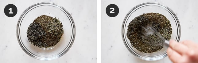 Step by step photos of how to make Italian seasoning