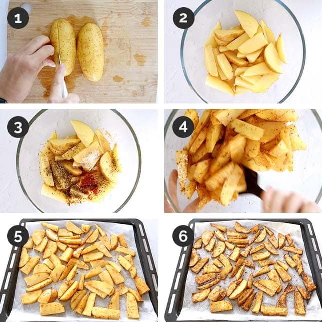 Step-by-step photos of how to make potato wedges