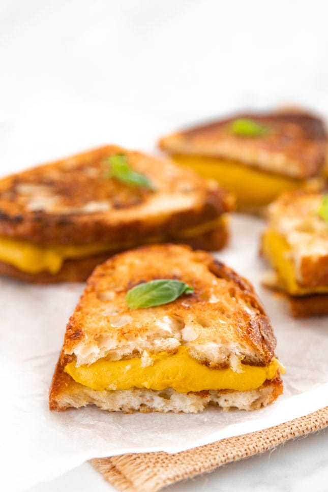 Photo of a vegan grilled cheese sandwich