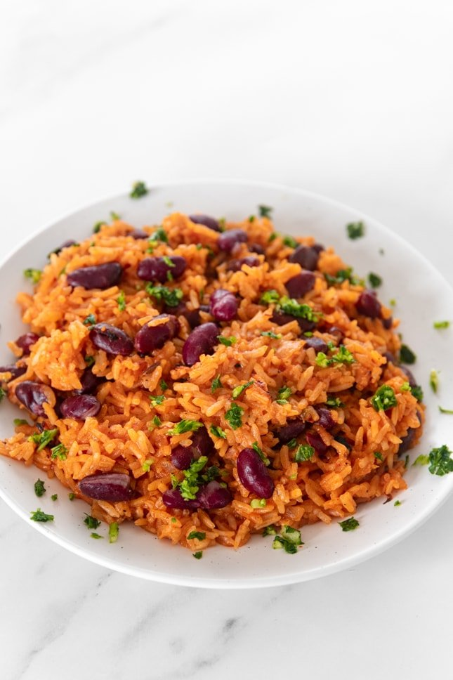 Photo of a plate of Spanish rice and beans
